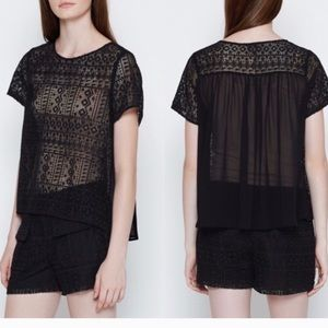 JOIE Sevan black lace sheer back silk top small